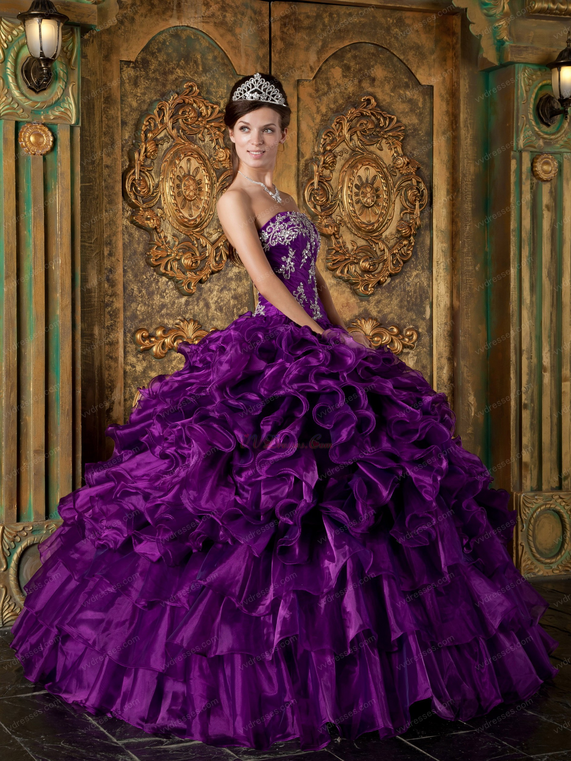 Designer Cascade Skirt Pansy Purple Quinceanera Gowns