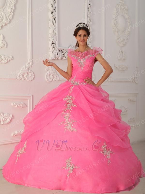 The Shoulder Hot Pink Allure Quinceanera Dress Applique