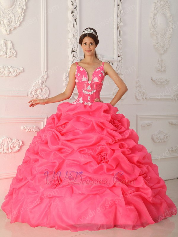 Designer Ruched Ball Gown Hot Pink Quinceanera Dress