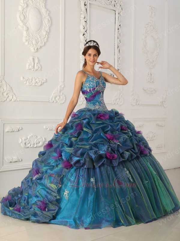 Teal Quinceanera Dresses 2013 Spaghetti Straps Teal ...