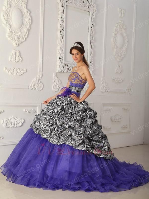 Purple zebra quinceanera dresses 2013