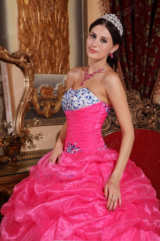 Hot Pink Strapless 2014 Girl Quinceanera Dress With Embroidery