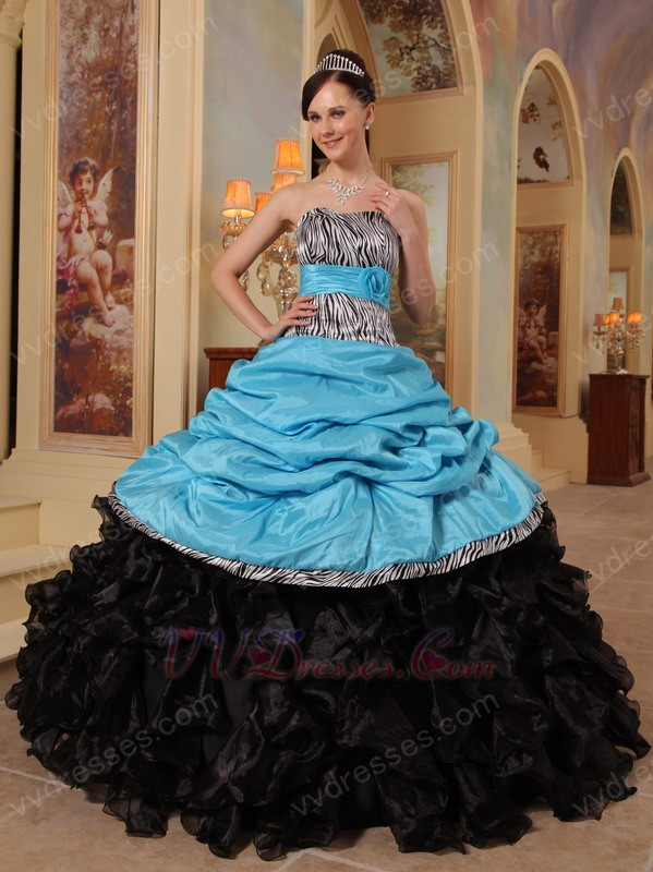 New Arrival Black And Sky Blue Quinceanera Dress