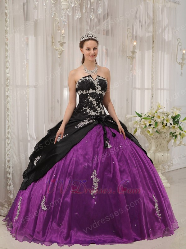 Appliqued Strapless Black And Purple Quinceanera Dress