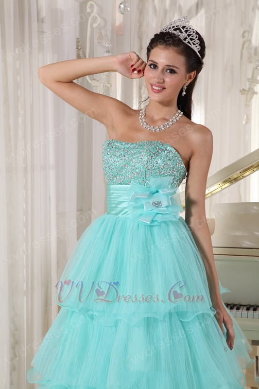 Minnesota Aqua Blue Layers Empire Skirt Prom Dress Cute