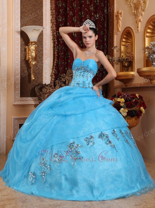 Aqua Blue 2014 Puffy Quinceanera Gown Clearance