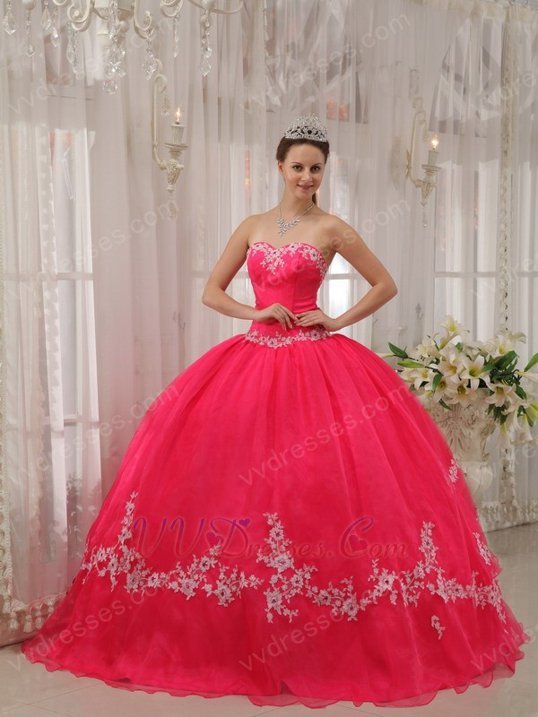 Appliqued Deep Pink Quinceanera Dress By Organza Fabric