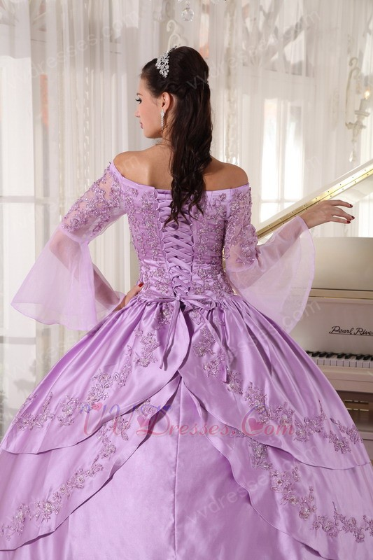 Off Shoulder Half Sleeves Lilac Puffy Skirt 2014