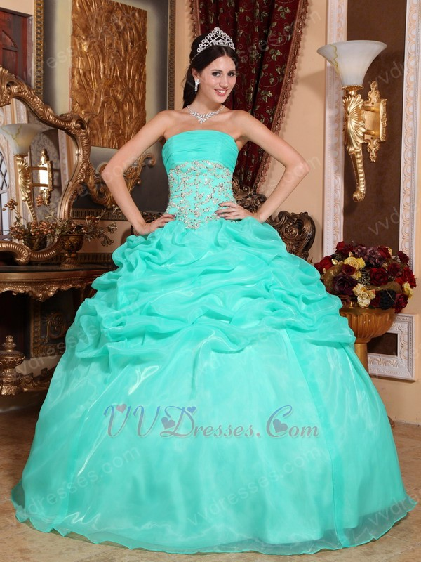 Floor Length Puffy Skirt Designer Quinceanera Dress