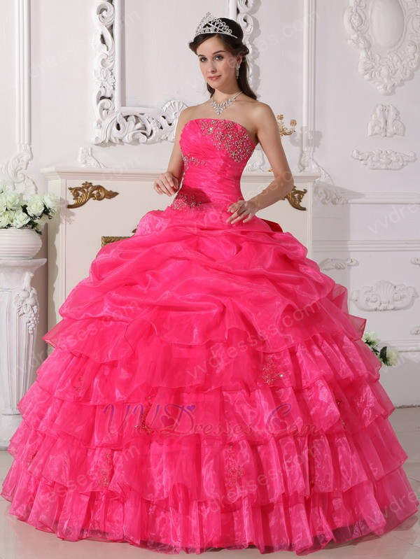 Pink Organza Cascade Gangnam Style Quinceanera Dress