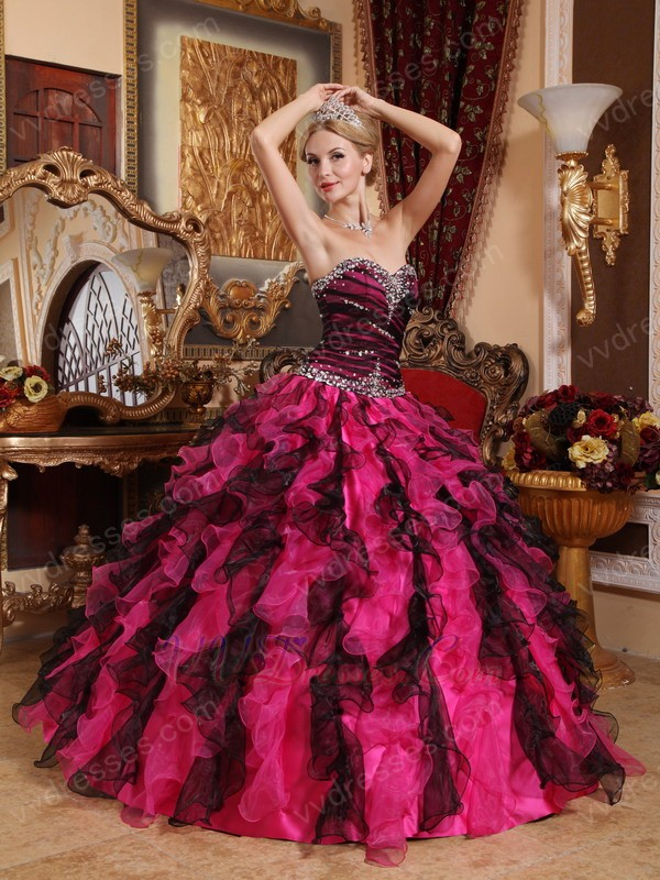 and Fuchsia Ruffles Skirt Good Looking Quinceanera Dress