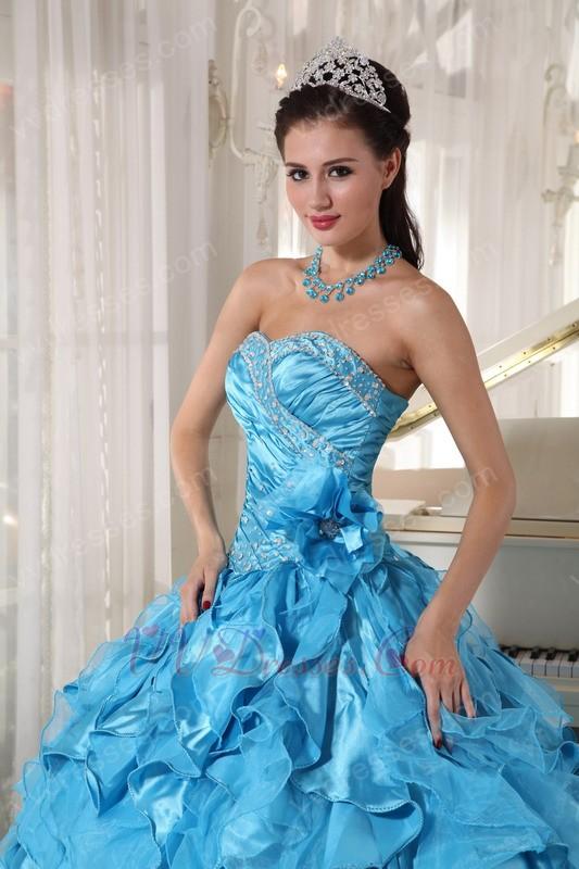 Beautiful Sky Blue Ruffles Skirt Quinceanera Dress Under 250