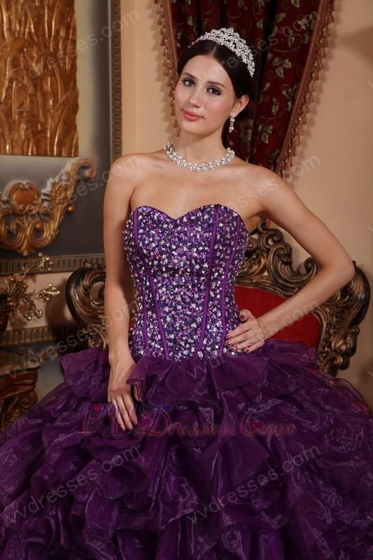 Purple Sweetheart Ruffled Skirt Cheap Military Ball Gown