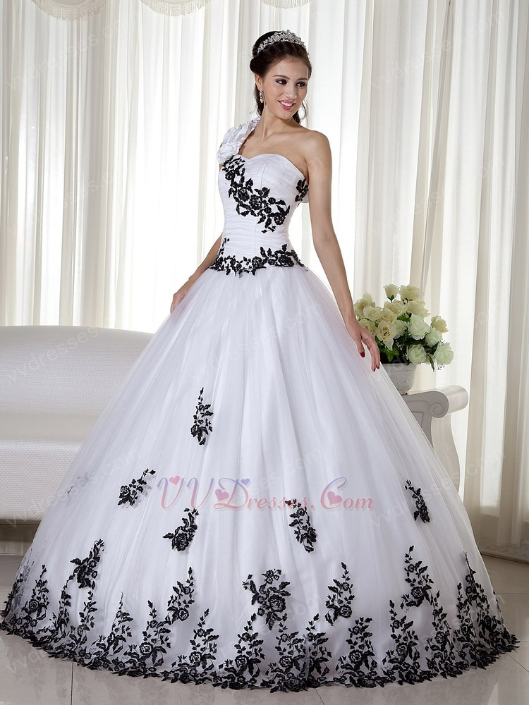 Shoulder White Quinceanera Dress With Black Leaves Decorate