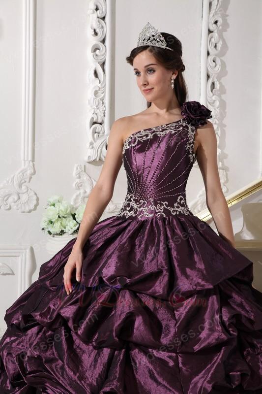 Dark Purple One Shoulder Puffy Quinceanera Dress Designer