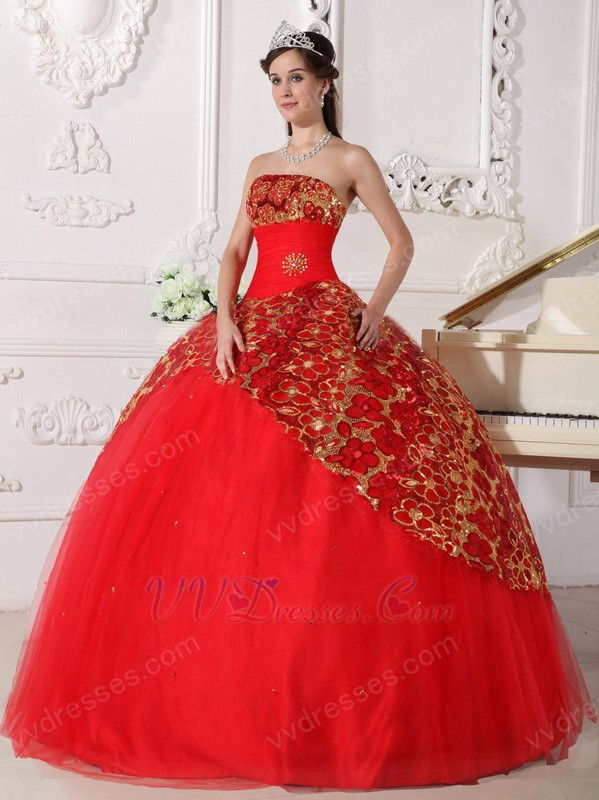 Strapless Puffy Quinceanera Dress With Sequin Decorate