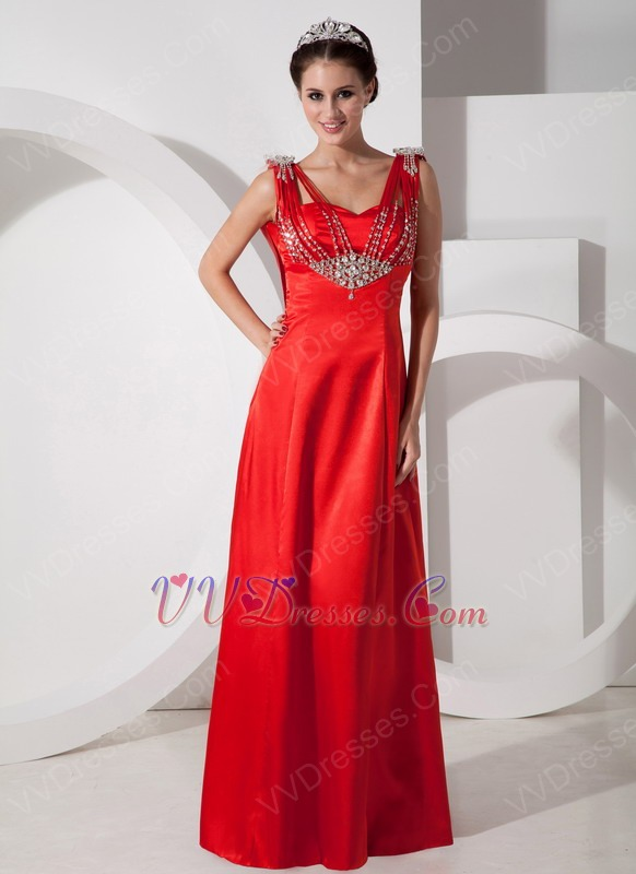 Empire Waist Scarlet Red Satin Beaded Prom Party Dress