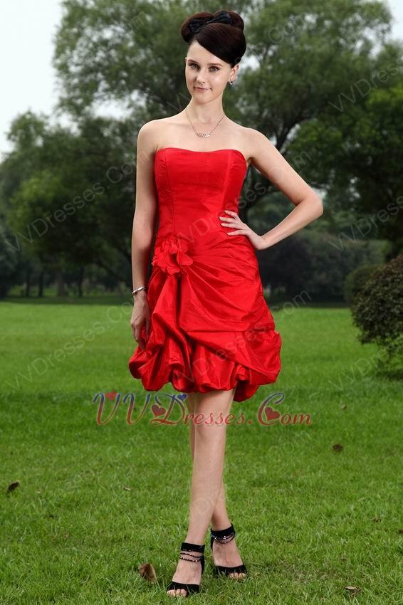 Short Scarlet Red Girls Graduation Dress