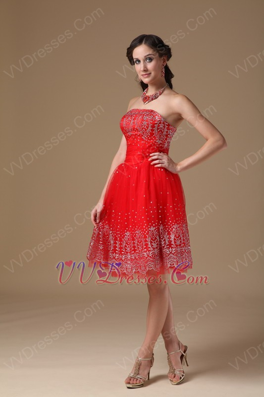 Strapless Knee Length Red Short Prom Dress For Girls Wear