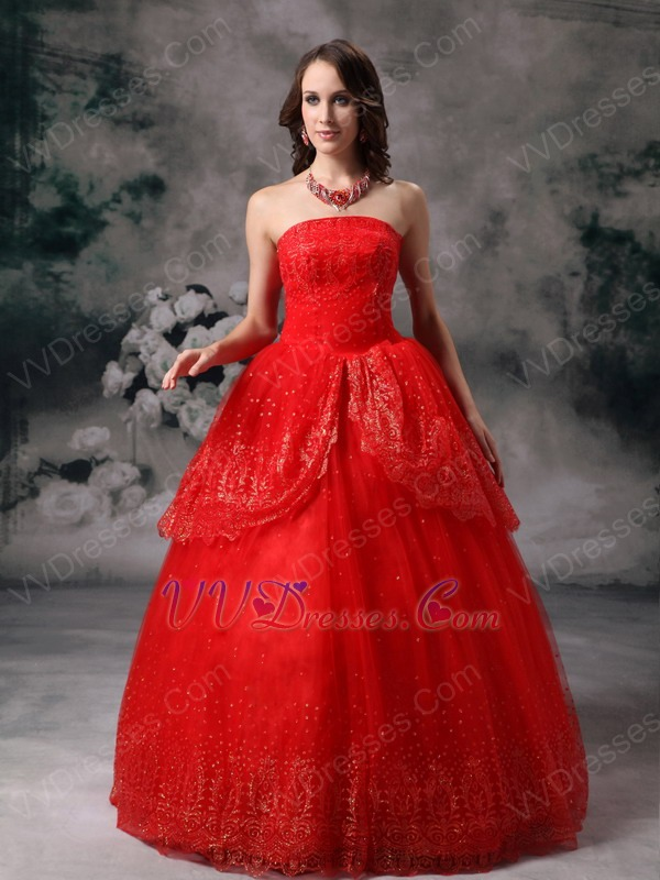Strapless Wine Red Organza Puffy Prom Quinceanera Dress