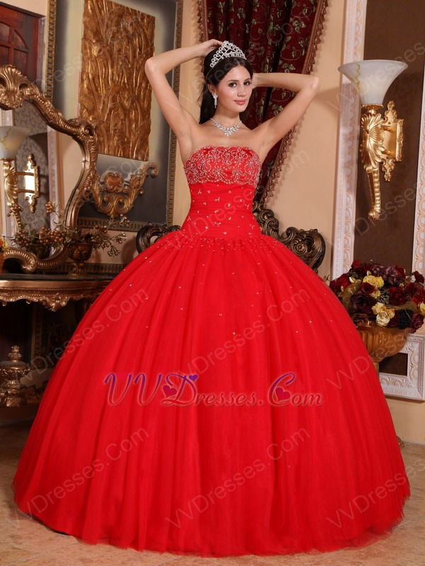 Beaded Scarlet Red Tulle Quinceanera Dress