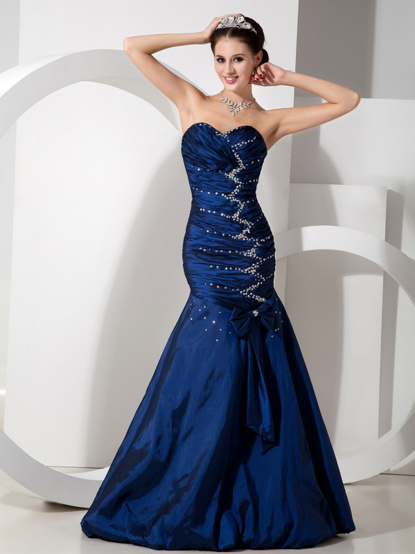 Blue Mermaid Evening Dress For 2014 Prom Wear
