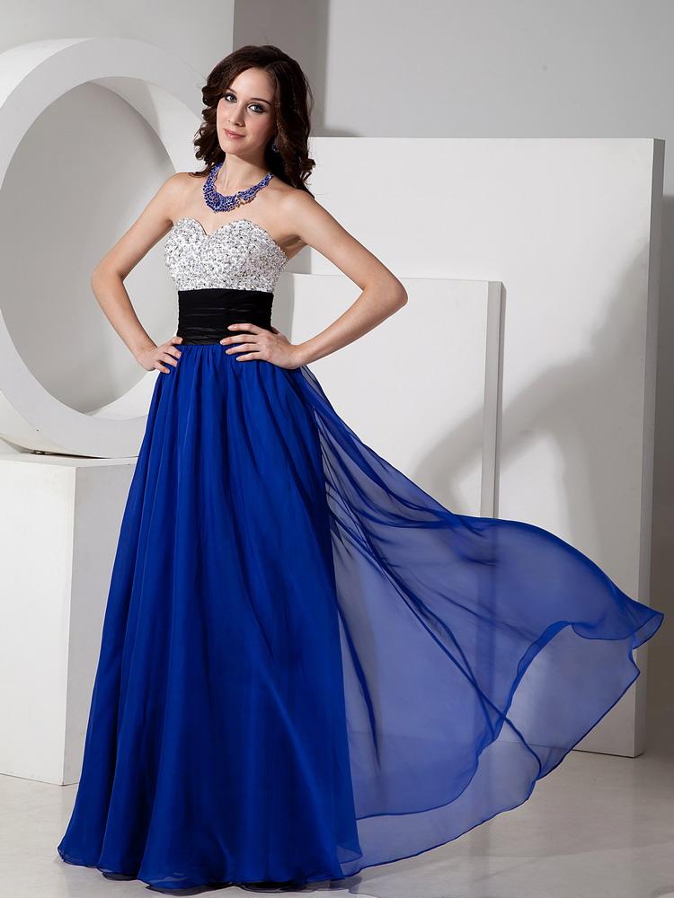 Stylish Royal Blue Beaded Evening Dresses Discount