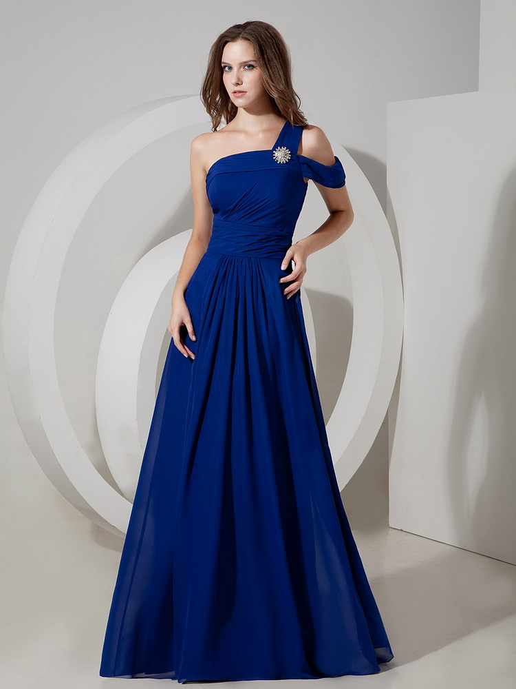 Royal Blue Chiffon Single One Shoulder A Line Prom Dress