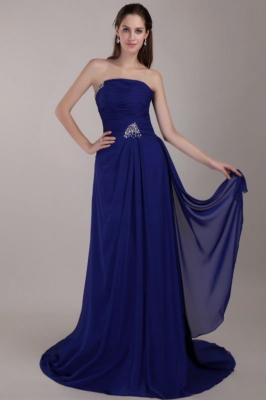 Blue Strapless Court Train Prom Dress For Cheap