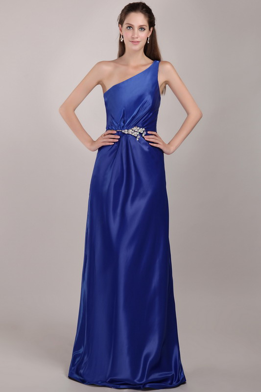 One Shoulder Royal Blue Top Designer Prom Dress