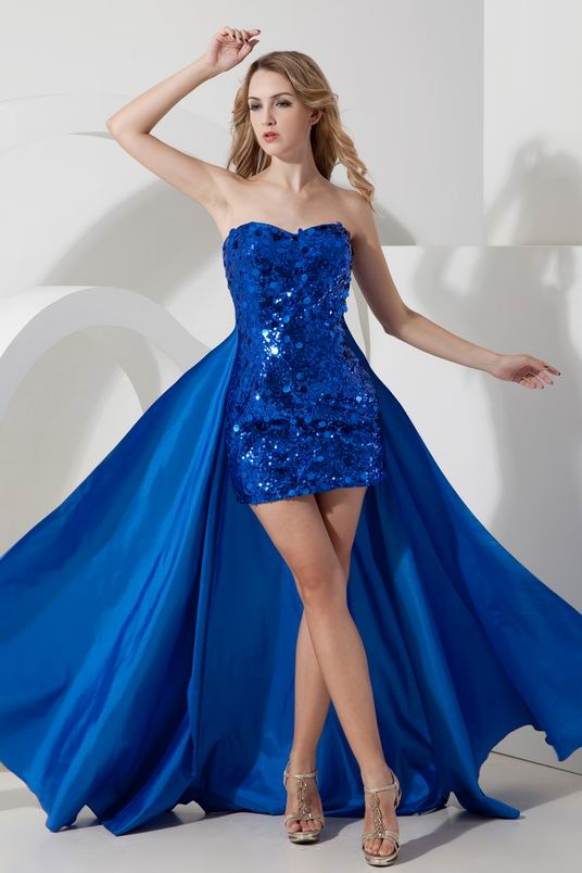 Blue Sequin Asymmetrical Detachable Cocktail Dress