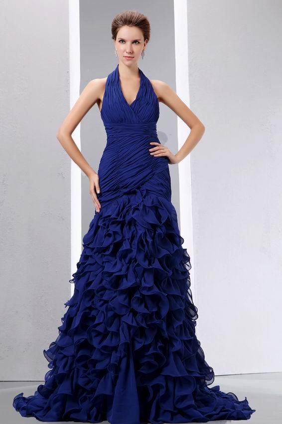 Sell Halter Ruffles Skirt Sapphire Blue Prom Celebrity Dress