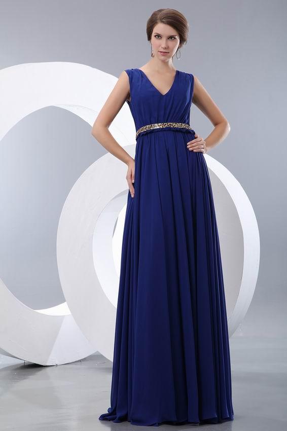 Sapphire Blue Evening Dress With Leopard Print Belt