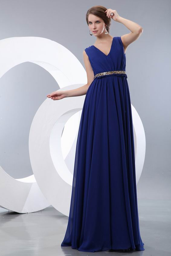 Perfect Sapphire Blue Evening Dress With Leopard Print Belt