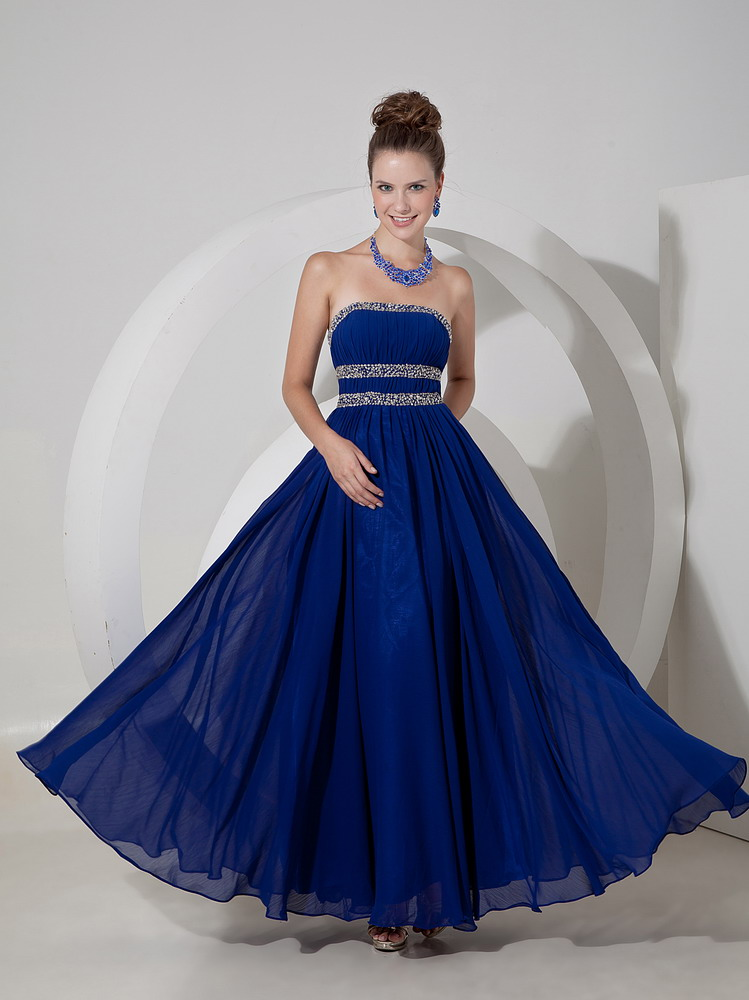 2014 new arrival dark blue floor length prom evening dress