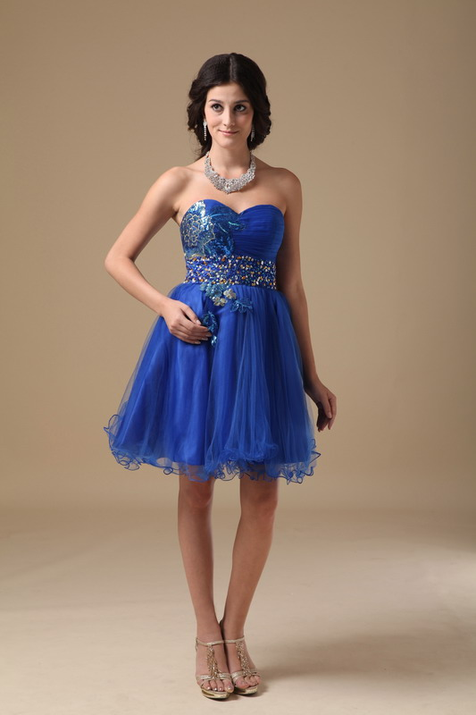 Sweetheart Royal Blue Quality Short Sweet Sixteen Gown