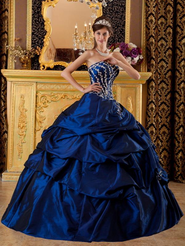 Home :: Royal Blue Color Dresses :: Dark Blue Appliqued Floor Length ...