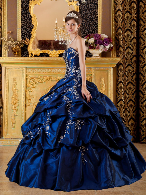 Dark royal blue colored dresses