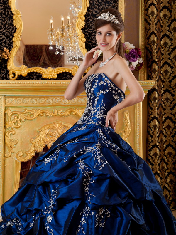 Dark Blue Appliqued Floor Length Quinceanera Dress Gown