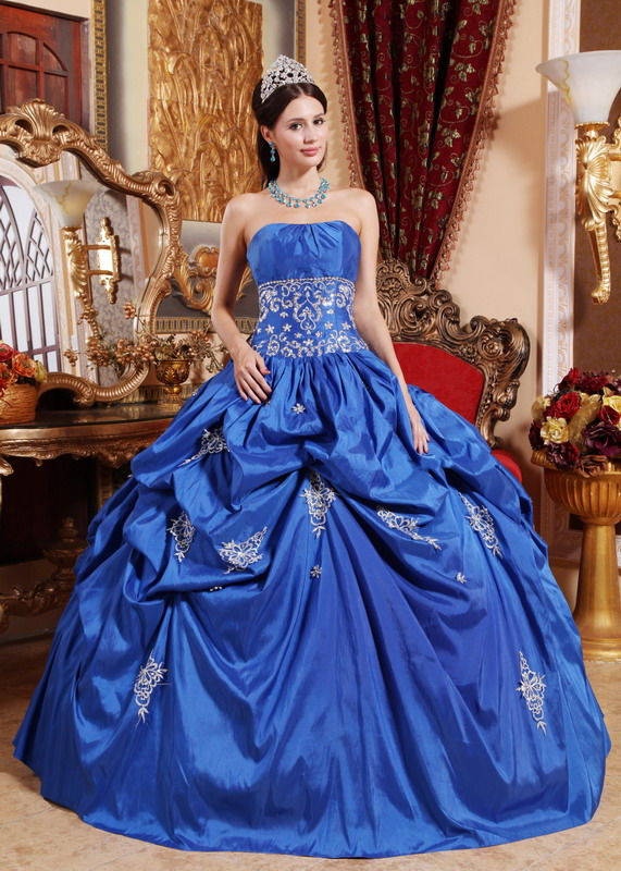 Blue color wedding dress