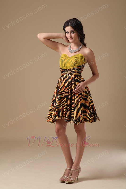 Multi-color Tiger Printed Short Sweet 16 Dress For Cheap