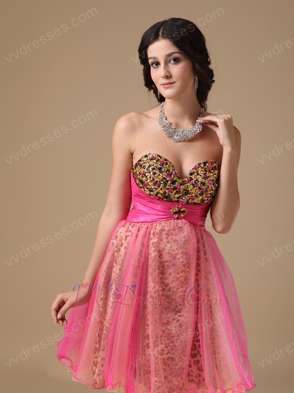 Sexy Hot Pink Leopard Printed Sweet 16 Dress For Girls