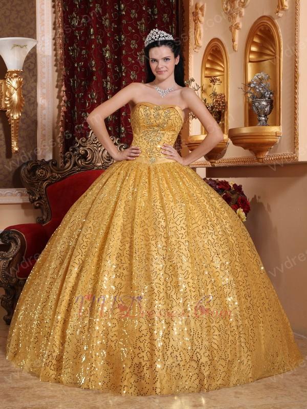 Gold Sequin Floor Length Tidebuy Quinceanera Dress In Georgia