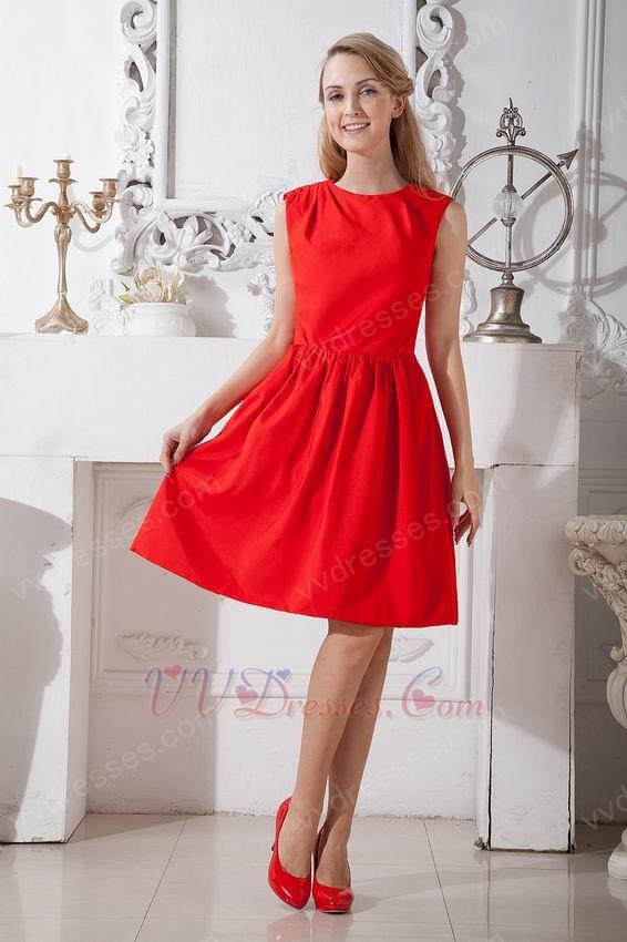 Scoop Scarlet Red Short Prom Dress Under 100 Pounds