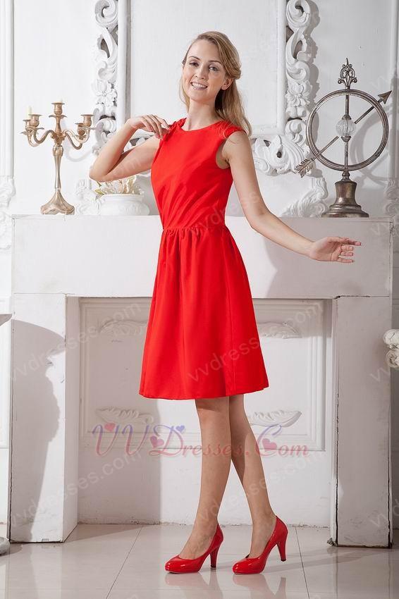 Modest Scoop Scarlet Red Short Prom Dress Under 100 Pounds