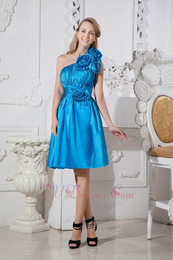 One Shoulder Flowers Azure Blue Short Prom Dress