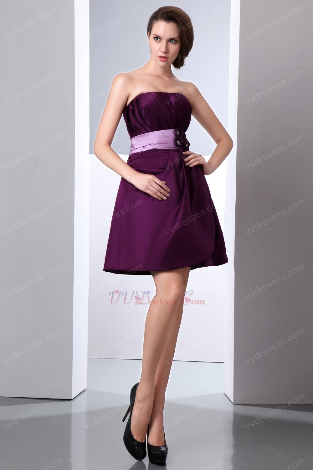 Cute Strapless Ruched Purple Short Prom Dress With Lilac Sashes