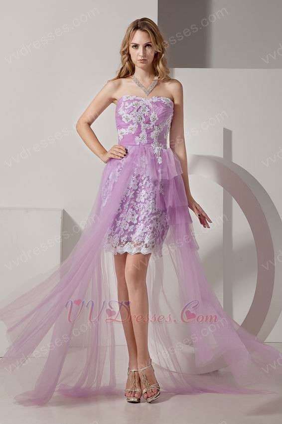 Sweetheart Short Front Long Back Lilac Short Prom Dress