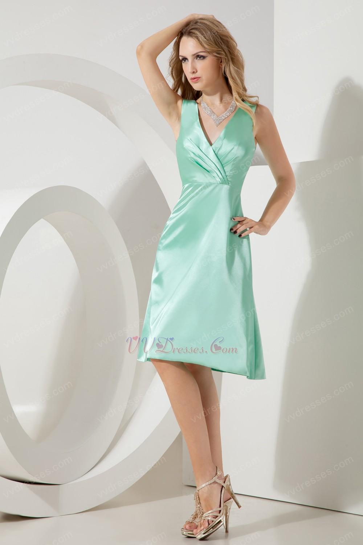 light green v neckline knee length short prom dress