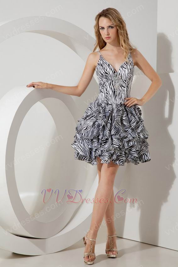 Zebra Short Prom Dresses 97